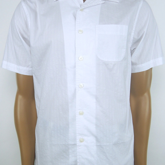 CREMIEUX Classics Short Sleeve Button Front 100/% Cotton Camp Collar Woven Shirt